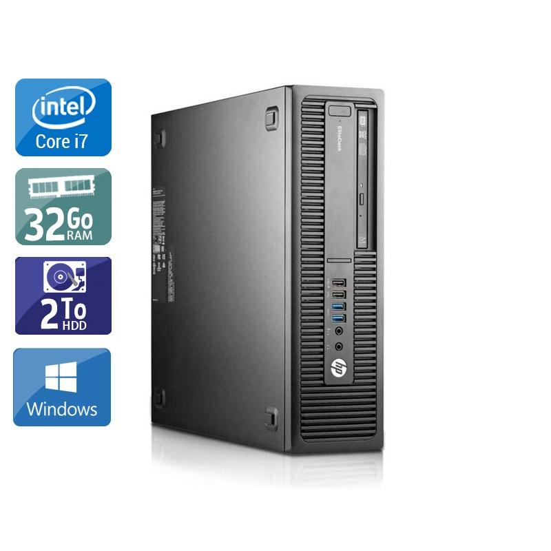 HP EliteDesk 800 G1 SFF i7 32Go RAM 2To HDD Windows 10