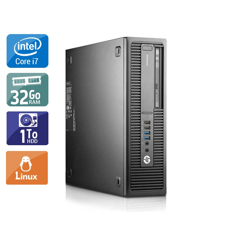 HP EliteDesk 800 G1 SFF i7 32Go RAM 1To HDD Linux