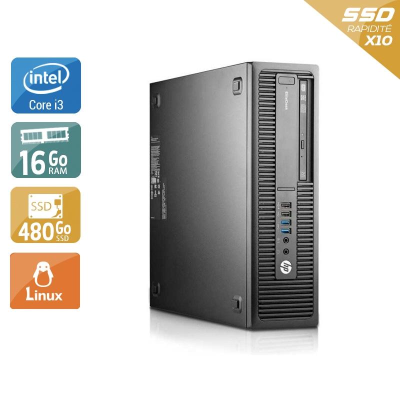 HP EliteDesk 800 G2 SFF i3 Gen 6 16Go RAM 480Go SSD Linux