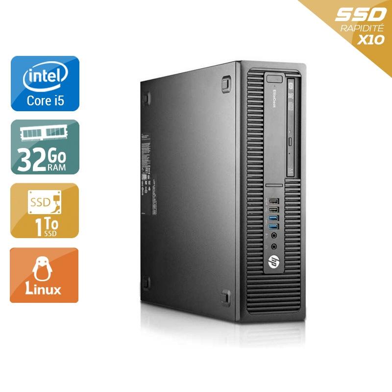 HP EliteDesk 800 G2 SFF i5 Gen 6 32Go RAM 1To SSD Linux