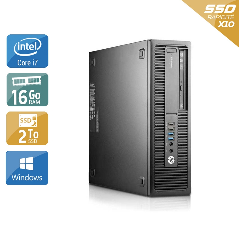 HP EliteDesk 800 G2 SFF i7 Gen 6 16Go RAM 2To SSD Windows 10
