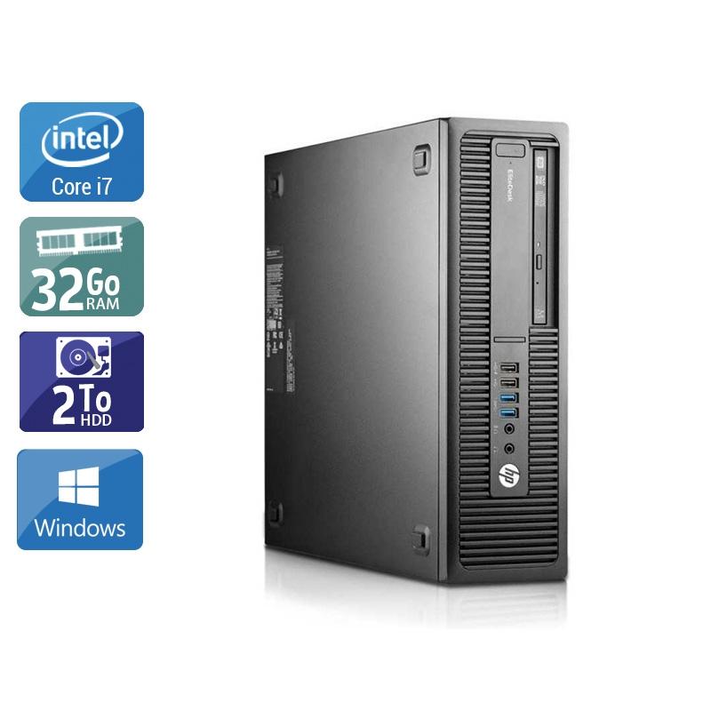 HP EliteDesk 800 G2 SFF i7 Gen 6 32Go RAM 2To HDD Windows 10