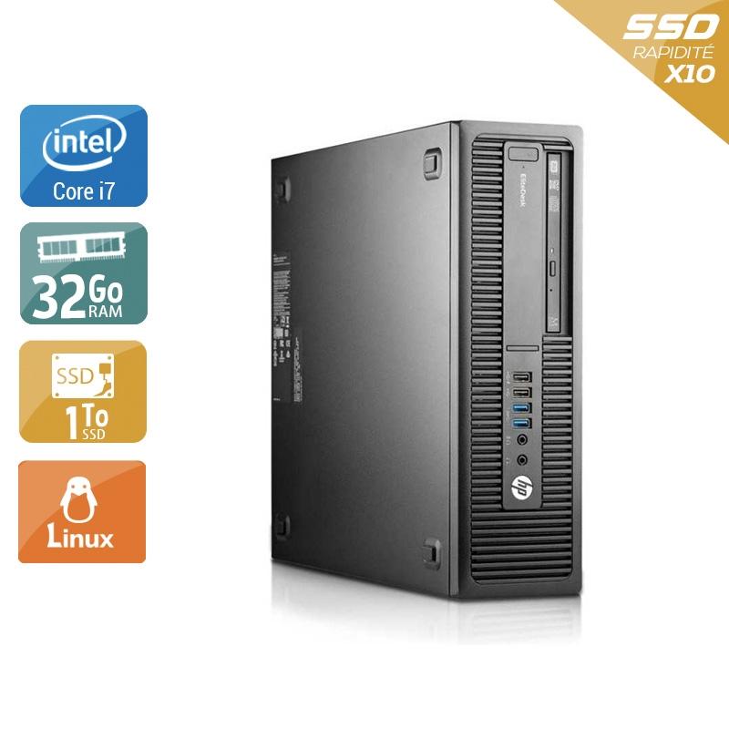 HP EliteDesk 800 G2 SFF i7 Gen 6 32Go RAM 1To SSD Linux