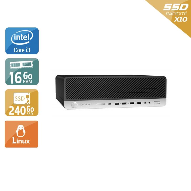 HP EliteDesk 800 G3 SFF i3 Gen 7 16Go RAM 240Go SSD Linux