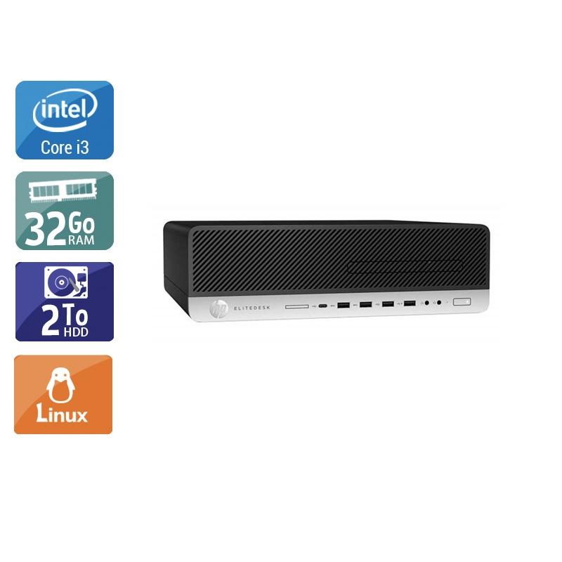 HP EliteDesk 800 G3 SFF i3 Gen 7 32Go RAM 2To HDD Linux