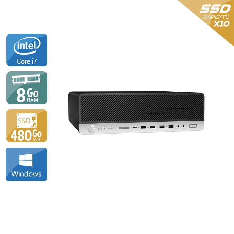 HP EliteDesk 800 G3 SFF i7 Gen 6 8Go RAM 480Go SSD Windows 10