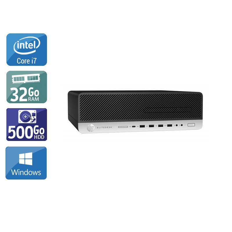 HP EliteDesk 800 G3 SFF i7 Gen 6 32Go RAM 500Go HDD Windows 10