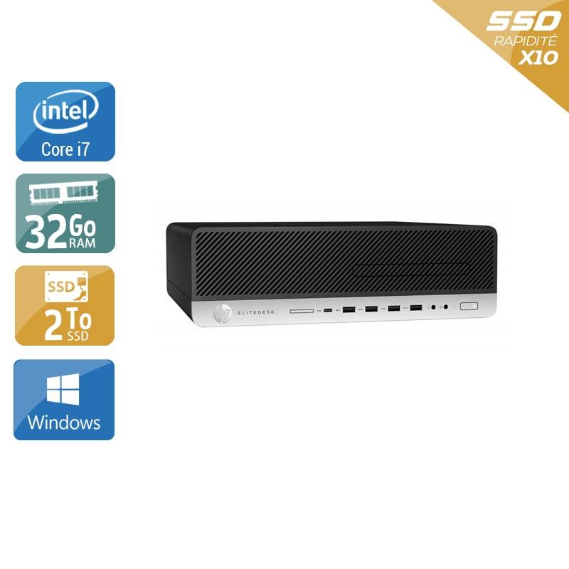 HP EliteDesk 800 G3 SFF i7 Gen 6 32Go RAM 2To SSD Windows 10