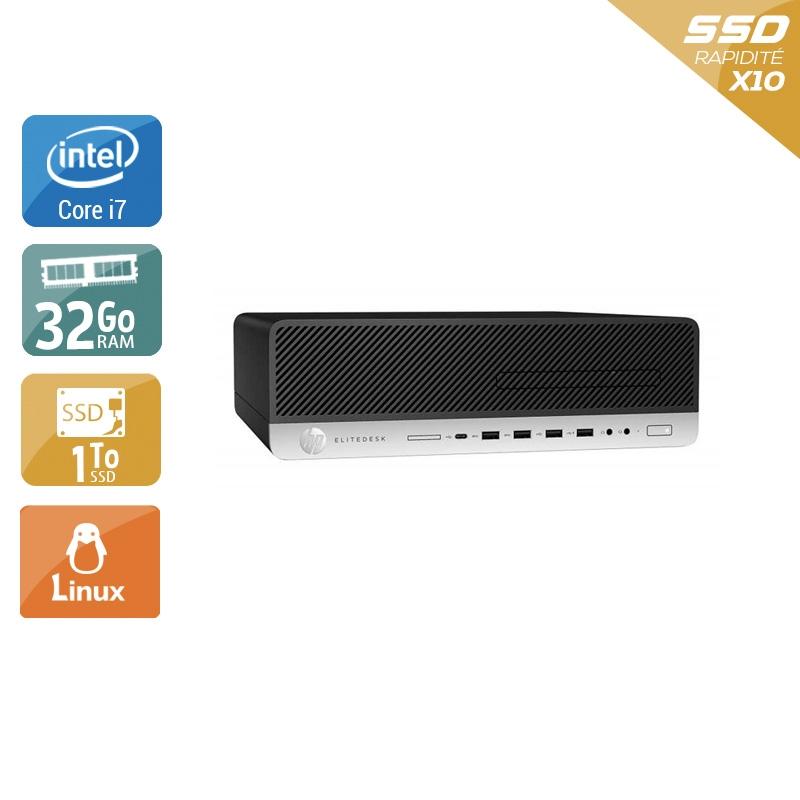 HP EliteDesk 800 G3 SFF i7 Gen 6 32Go RAM 1To SSD Linux