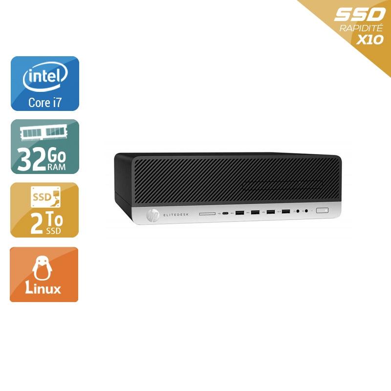 HP EliteDesk 800 G3 SFF i7 Gen 6 32Go RAM 2To SSD Linux
