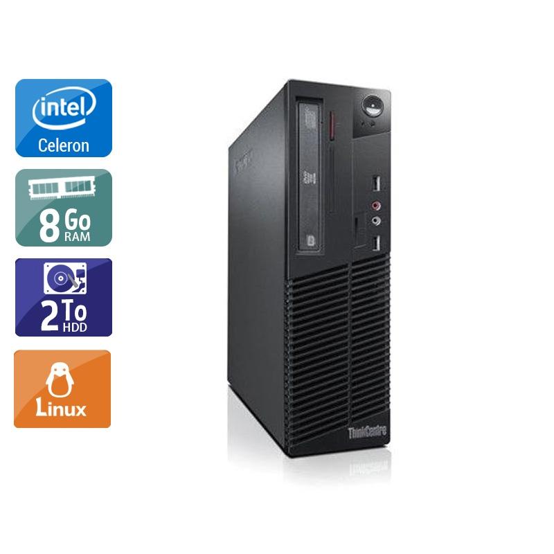 Lenovo ThinkCentre M71 SFF Celeron Dual Core 8Go RAM 2To HDD Linux