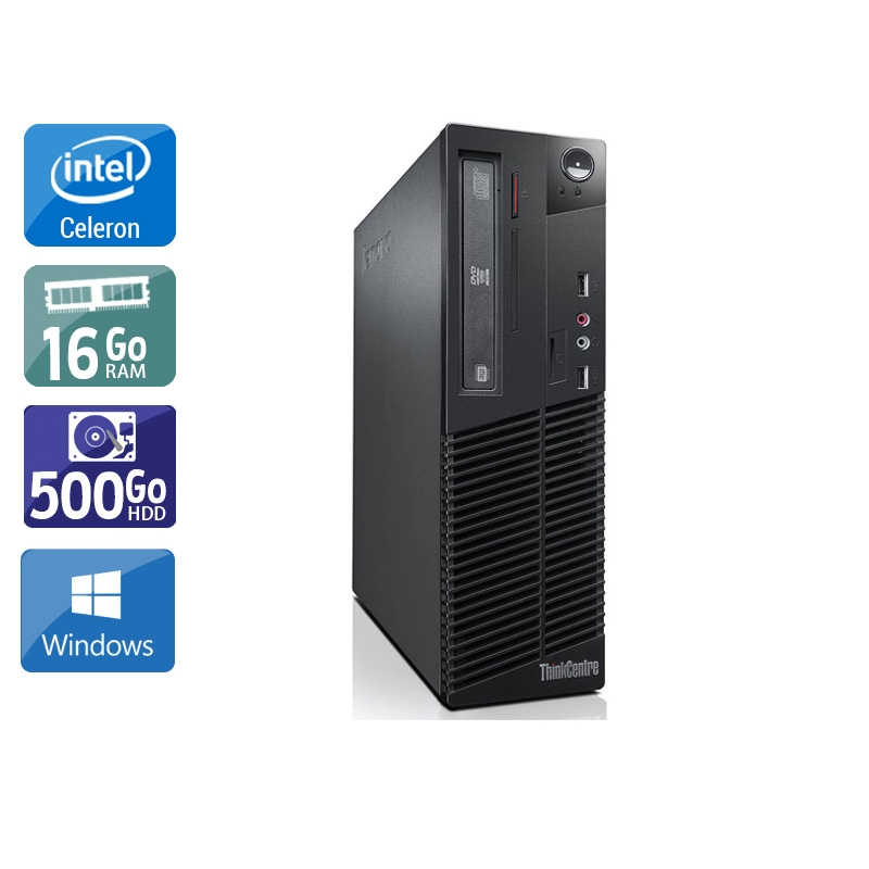 Lenovo ThinkCentre M73 SFF Celeron Dual Core 16Go RAM 500Go HDD Windows 10