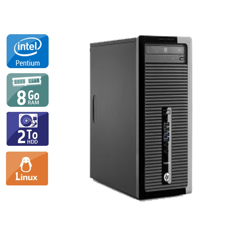 HP ProDesk 400 G1 Tower Pentium G Dual Core 8Go RAM 2To HDD Linux