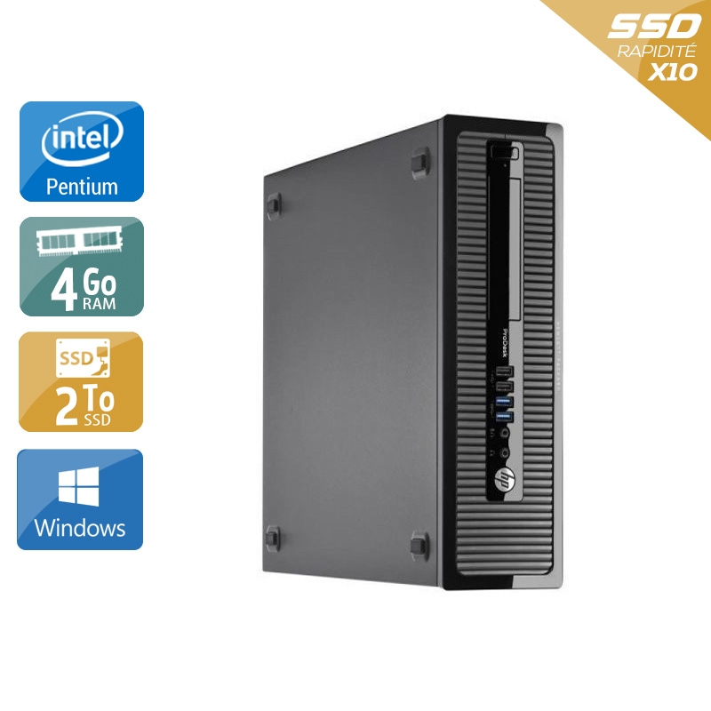 HP ProDesk 400 G1 SFF Pentium G Dual Core 4Go RAM 2To SSD Windows 10