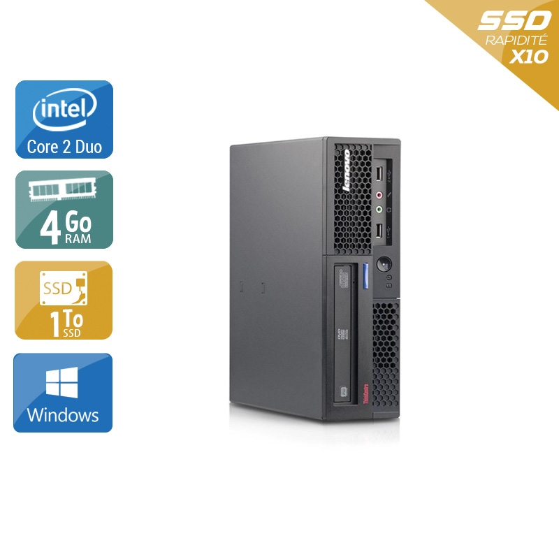 Lenovo ThinkCentre M58 USFF Core 2 Duo 4Go RAM 1To SSD Windows 10