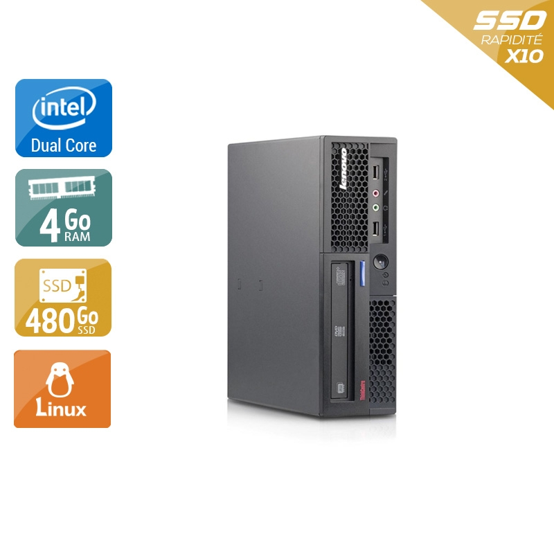 Lenovo ThinkCentre M58 USFF Dual Core 4Go RAM 480Go SSD Linux