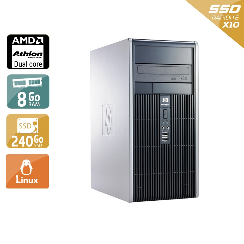 HP Compaq dc5850 Tower AMD Athlon Dual Core 8Go RAM 240Go SSD Linux