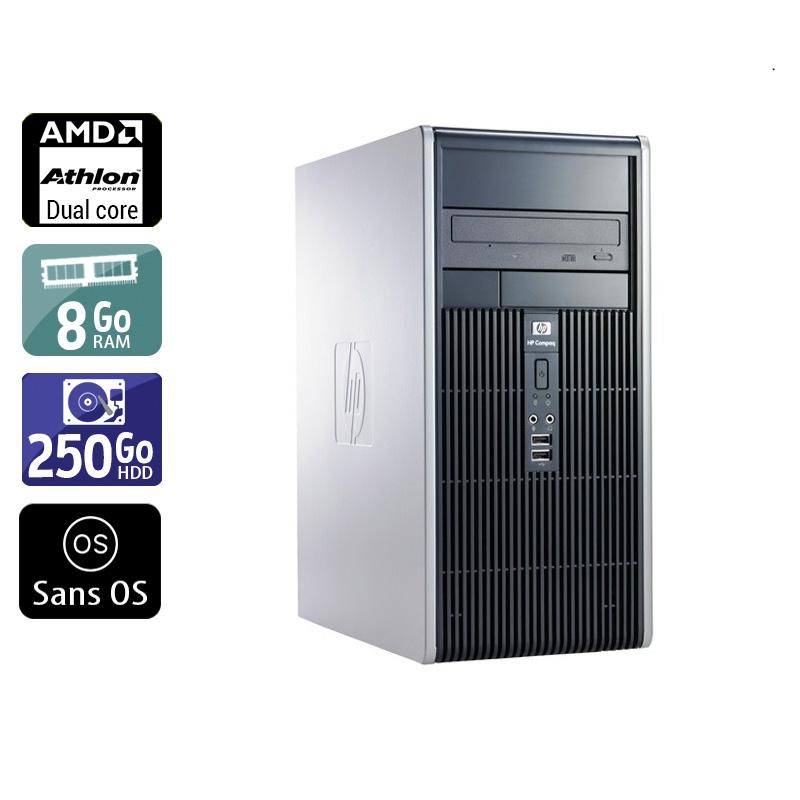 HP Compaq dc5850 Tower AMD Athlon Dual Core 8Go RAM 250Go HDD Sans OS