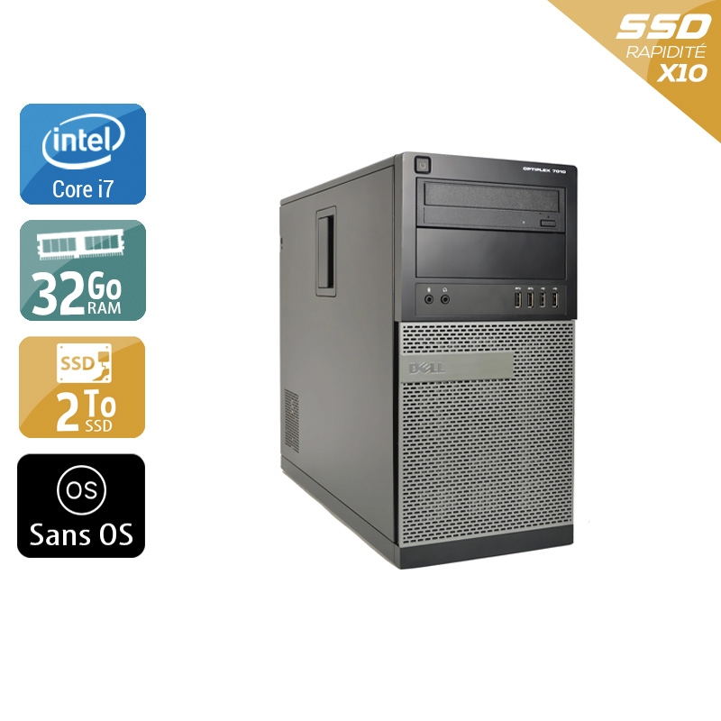 Dell Optiplex 9020 Tower i7 32Go RAM 2To SSD Sans OS