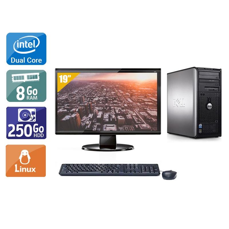 Dell Optiplex 760 Tower Dual Core avec Écran 19 pouces 8Go RAM 250Go HDD Linux
