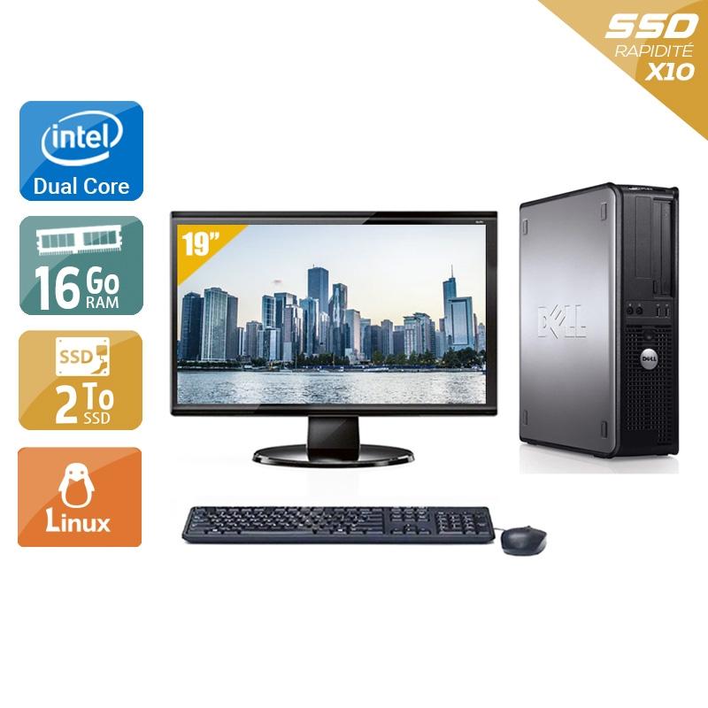 Dell Optiplex 780 Desktop Dual Core avec Écran 19 pouces 16Go RAM 2To SSD Linux