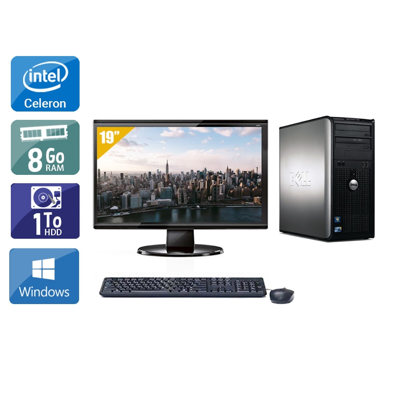Dell Optiplex 780 Tower Celeron Dual Core avec Écran 19 pouces 8Go RAM 1To HDD Windows 10