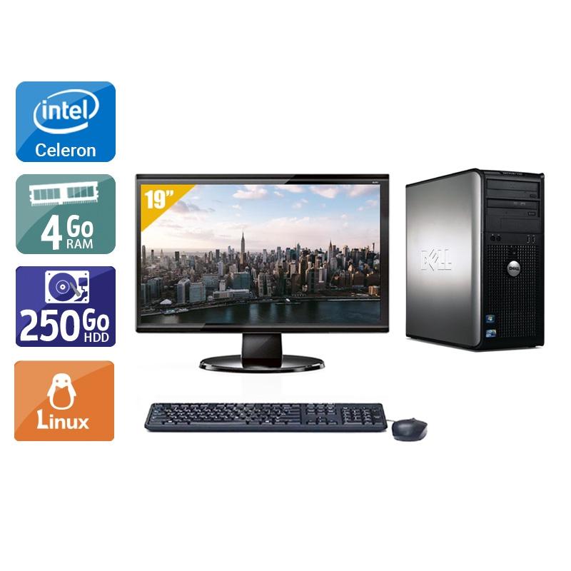 Dell Optiplex 780 Tower Celeron Dual Core avec Écran 19 pouces 4Go RAM 250Go HDD Linux