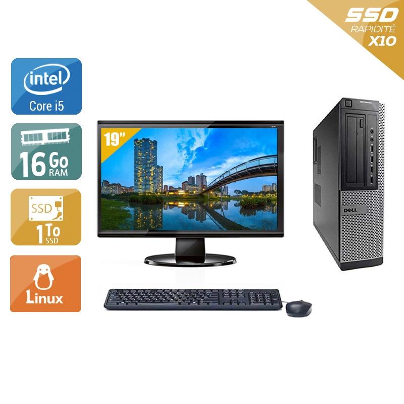 Dell Optiplex 790 Desktop i5 avec Écran 19 pouces 16Go RAM 1To SSD Linux