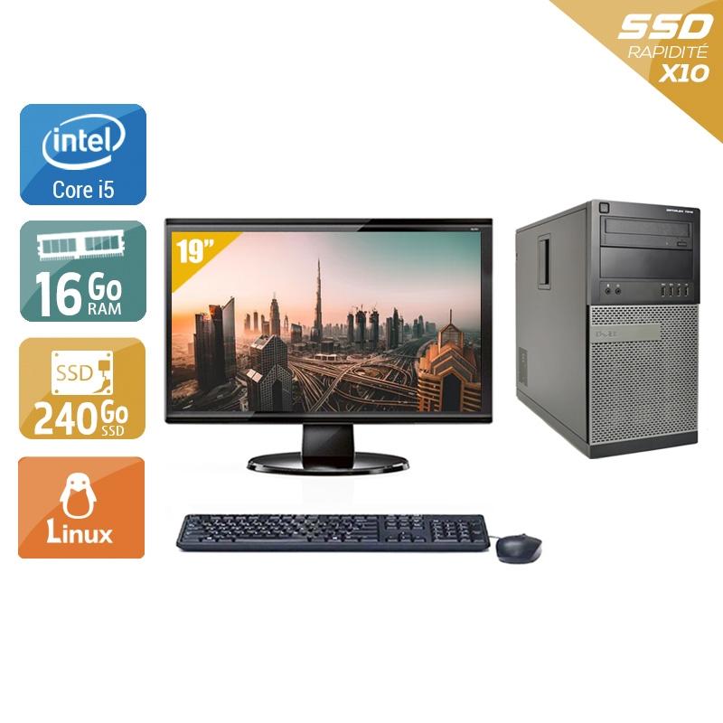 Dell Optiplex 790 Tower i5 avec Écran 19 pouces 16Go RAM 240Go SSD Linux