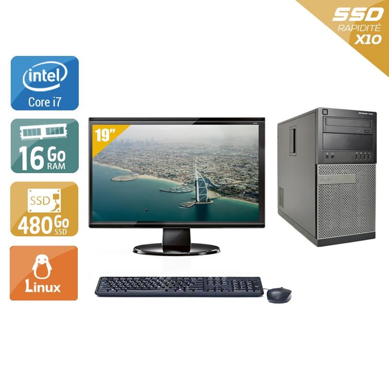 Dell Optiplex 790 Tower i7 avec Écran 19 pouces 16Go RAM 480Go SSD Linux