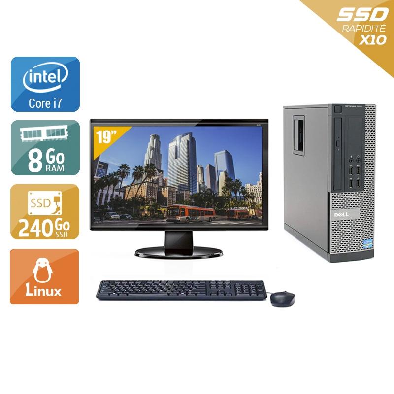 Dell Optiplex 790 SFF i7 avec Écran 19 pouces 8Go RAM 240Go SSD Linux