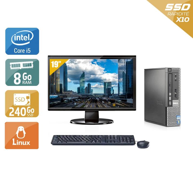 Dell Optiplex 790 USDT i5 avec Écran 19 pouces 8Go RAM 240Go SSD Linux