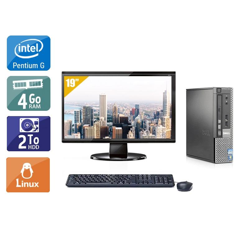 Dell Optiplex 790 USDT Pentium G Dual Core avec Écran 19 pouces 4Go RAM 2To HDD Linux