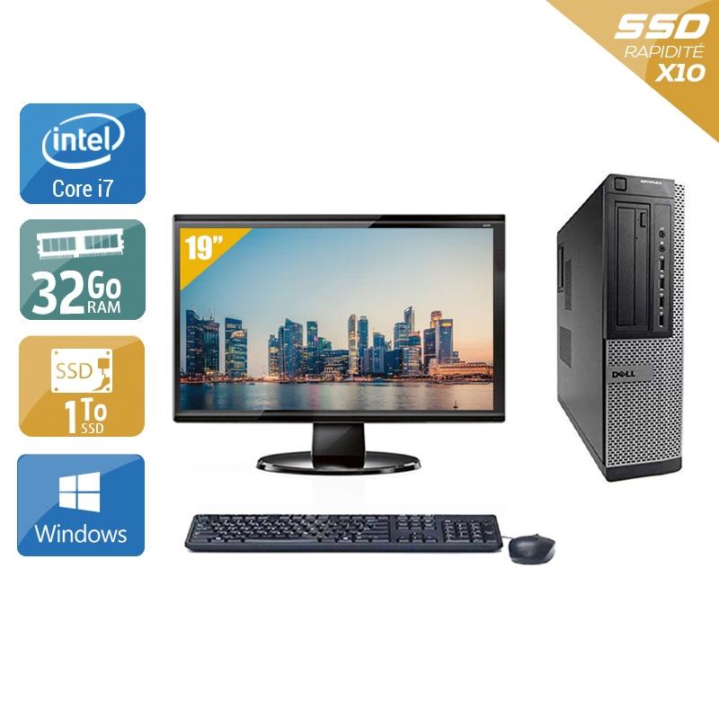 Dell Optiplex 9010 Desktop i7 avec Écran 19 pouces 32Go RAM 1To SSD Windows 10