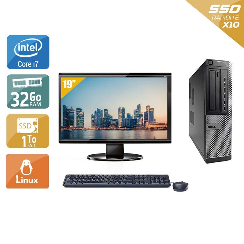 Dell Optiplex 9010 Desktop i7 avec Écran 19 pouces 32Go RAM 1To SSD Linux