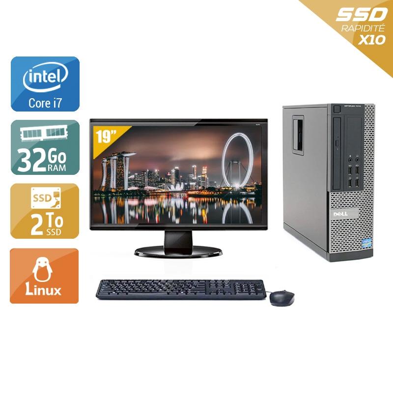 Dell Optiplex 9010 SFF i7 avec Écran 19 pouces 32Go RAM 2To SSD Linux