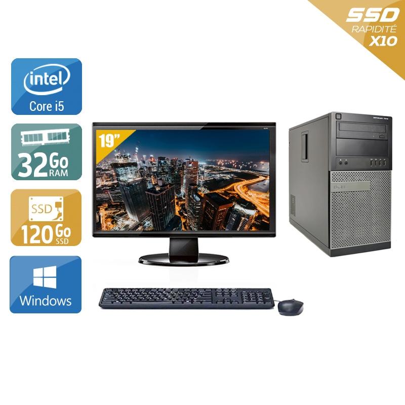 Dell Optiplex 9020 Tower i5 avec Écran 19 pouces 32Go RAM 120Go SSD Windows 10