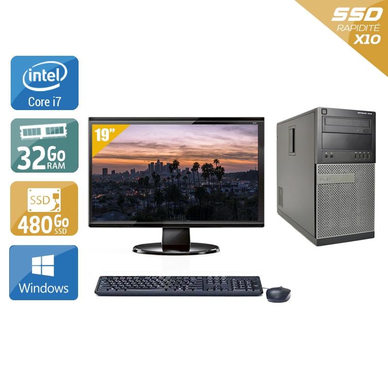 Dell Optiplex 9020 Tower i7 avec Écran 19 pouces 32Go RAM 480Go SSD Windows 10