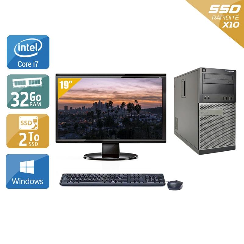 Dell Optiplex 9020 Tower i7 avec Écran 19 pouces 32Go RAM 2To SSD Windows 10