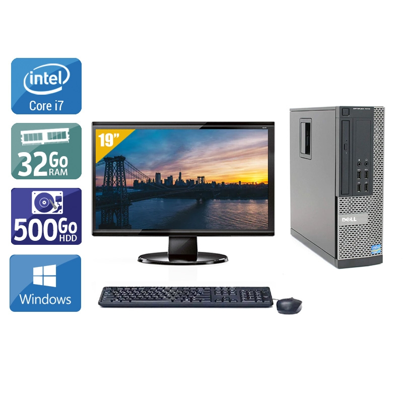 Dell Optiplex 9020 SFF i7 avec Écran 19 pouces 32Go RAM 500Go HDD Windows 10