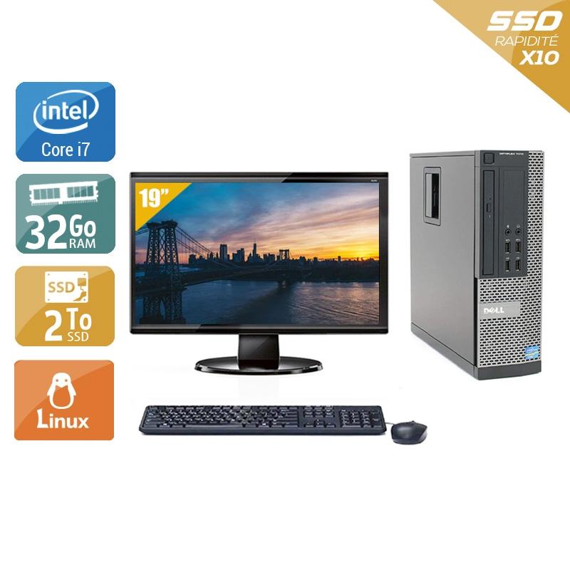 Dell Optiplex 9020 SFF i7 avec Écran 19 pouces 32Go RAM 2To SSD Linux