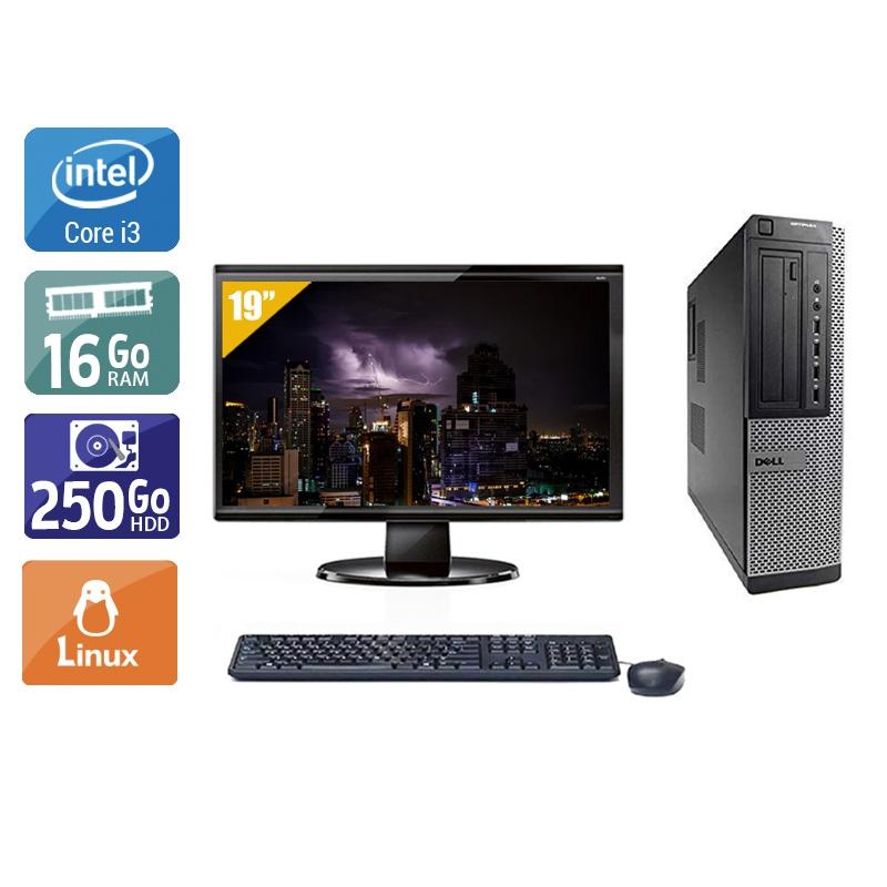 Dell Optiplex 990 Desktop i3 avec Écran 19 pouces 16Go RAM 250Go HDD Linux