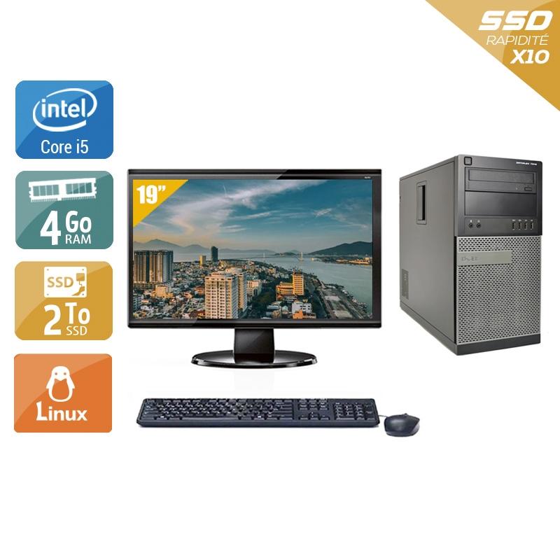 Dell Optiplex 990 Tower i5 avec Écran 19 pouces 4Go RAM 2To SSD Linux
