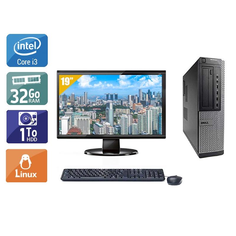 Dell Optiplex 9010 Desktop i3 avec Écran 19 pouces 32Go RAM 1To HDD Linux