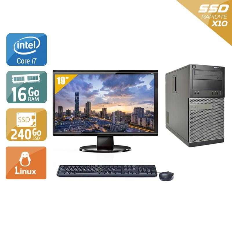 Dell Optiplex 990 Tower i7 avec Écran 19 pouces 16Go RAM 240Go SSD Linux