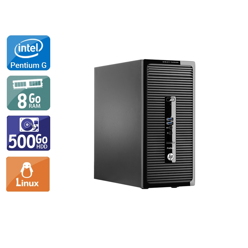 HP ProDesk 400 G2 Tower Pentium G Dual Core 8Go RAM 500Go HDD Linux
