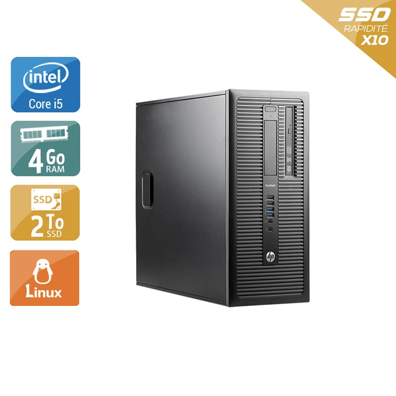 HP ProDesk 600 G1 Tower i5 4Go RAM 2To SSD Linux