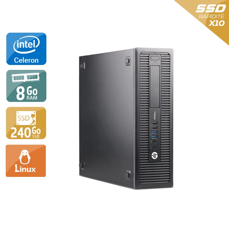 HP ProDesk 600 G1 SFF Celeron Dual Core 8Go RAM 240Go SSD Linux