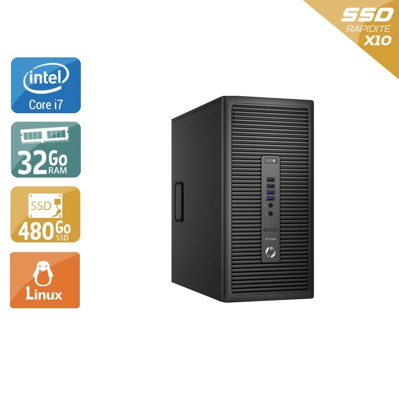 HP ProDesk 600 G2 Tower i7 Gen 6 32Go RAM 480Go SSD Linux