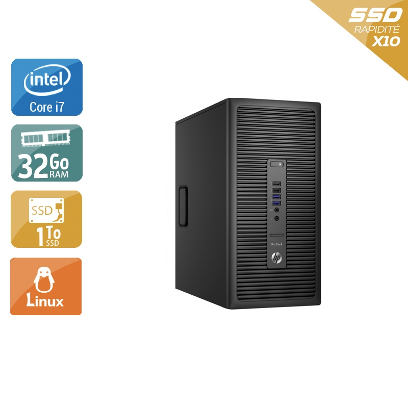 HP ProDesk 600 G2 Tower i7 Gen 6 32Go RAM 1To SSD Linux
